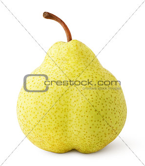 Green yellow pear fruit isolated on white