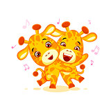 Emoji have date let dance music character cartoon friends Giraffe sticker emoticon