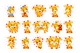 Set Vector Stock isolated Emoji character cartoon giraffe stickers emoticon