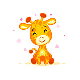 Emoji hello hi in love hearts you are cute character cartoon Giraffe sticker emoticon