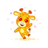 Emoji hello hi waving in love hearts you are cute character cartoon Giraffe sticker emoticon
