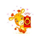 Emoji marry me character cartoon Giraffe box with a ring sticker emoticon