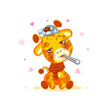 Emoji character cartoon Giraffe sick with thermometer in mouth sticker emoticon