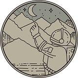 Astronaut Moon Stars Circle Mono Line