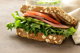 wholegrain sandwich with ham, tomato, cucumbers  and pickles