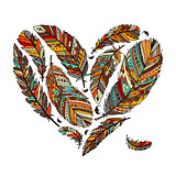 Feather collection, heart shape for your design