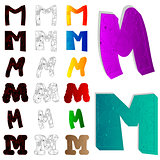 Set of letter M, filled with floral elements.