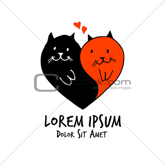 cats love vector heart couple valentine wedding