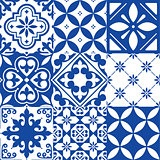 Spanish tiles, Moroccan tiles design, seamless navy blue pattern