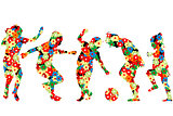 Children silhouettes made of  flowers pattern