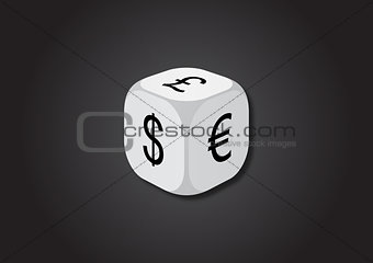 A 3D illustration of a dice with currency symbols