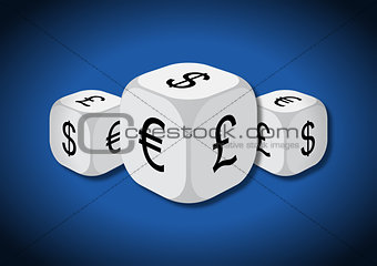 A 3D illustration of three dice with currency symbols