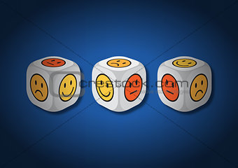 A 3D illustration of three dice with emotion symbols