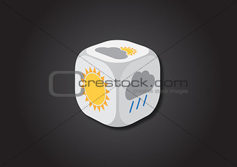 A 3D illustration of a dice with meteorological symbols