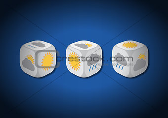 A 3D illustration of three dice with meteorological symbols