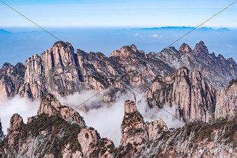 Fog between the rocks in Huangshan National park.
