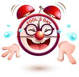 Fun clock laughs fools day