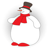 Cute fat snowman on white background