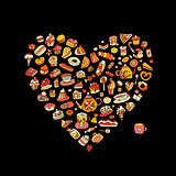 Cakes and sweets collection, heart shape for your design