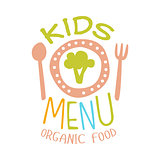 Organic Food For Kids, Cafe Special Menu For Children Colorful Promo Sign Template With Text