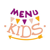 Kids Food, Cafe Special Menu For Children Colorful Promo Sign Template With Text, Garland And Arrow