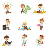 Kids In Financial Business Collection Of Cute Boys And Girls Working As Businessman Dealing With Big Money