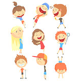 Small Kids Playing And Running, Having Fun On Summer Vacation Outdoors Set Of Cool Cartoon Characters