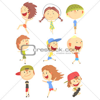 Small Kids Playing And Running, Having Fun On Summer Vacation Outdoors Series Of Cool Cartoon Characters