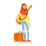 Man Hippie Dressed In Classic Woodstock Sixties Hippy Subculture Clothes Traveling With Guitar And Suitcase