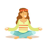 Girl Hippie Dressed In Classic Woodstock Sixties Hippy Subculture Clothes Meditating In Lotus Pose