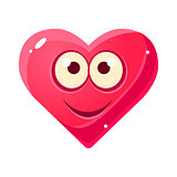 Content Smiling Emoji, Pink Heart Emotional Facial Expression Isolated Icon With Love Symbol Emoticon Cartoon Character