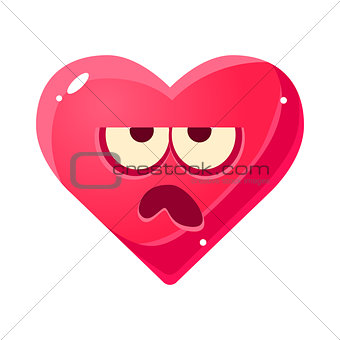 Grumpy Emoji, Pink Heart Emotional Facial Expression Isolated Icon With Love Symbol Emoticon Cartoon Character