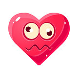 Dizzy Emoji, Pink Heart Emotional Facial Expression Isolated Icon With Love Symbol Emoticon Cartoon Character