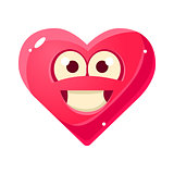 Content And Proud Emoji, Pink Heart Emotional Facial Expression Isolated Icon With Love Symbol Emoticon Cartoon Character