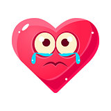 Crying Upset Emoji, Pink Heart Emotional Facial Expression Isolated Icon With Love Symbol Emoticon Cartoon Character