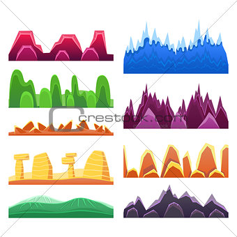 2D Rock And Mountain Profile Elements Set In Bright Color, Video Game Landscaping Of Alien Planet Background Relief