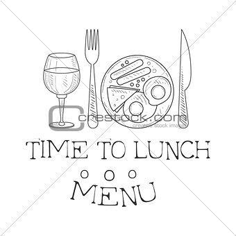 Cafe Lunch Menu Promo Sign In Sketch Style With English Breakfast And Wine Glass, Design Label Black And White Template