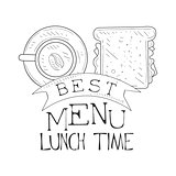 Best Cafe Lunch Menu Promo Sign In Sketch Style With Sandwich And Coffee, Design Label Black And White Template