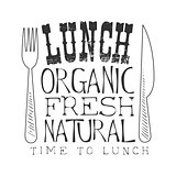 Fresh Organic Natural Cafe Lunch Menu Promo Sign In Sketch Style, Design Label Black And White Template