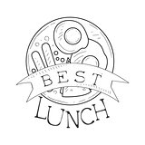Best Cafe Lunch Menu Promo Sign In Sketch Style With English Breakfast, Design Label Black And White Template
