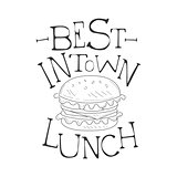 Best In Town Cafe Lunch Menu Promo Sign In Sketch Style With Burger, Design Label Black And White Template
