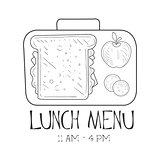 School Lunchbox Cafe Lunch Menu Promo Sign In Sketch Style, Design Label Black And White Template