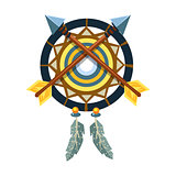 Dreamcatcher Charm With Crossed Arrows, Native American Indian Culture Symbol, Ethnic Object From North America Isolated Icon