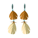 Earrings With Feathers, Native American Indian Culture Symbol, Ethnic Object From North America Isolated Icon