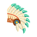Leader War Bonnet With Feathers, Native American Indian Culture Symbol, Ethnic Object From North America Isolated Icon