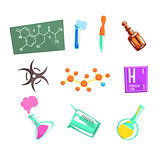 Chemist Scientist And Chemical Science Related Icons And Laboratory Experimental Equipment