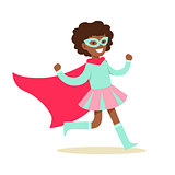 Girl Pretending To Have Super Powers Dressed In Pink And BLue Superhero Costume With Cape And Mask Smiling Character