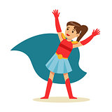 Girl With Ponytail Pretending To Have Super Powers Dressed In Superhero Costume With Blue Cape Smiling Character