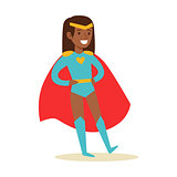 Girl Pretending To Have Super Powers Dressed In Blue Superhero Costume With Red Cape And Diadem Smiling Character