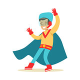 Boy Pretending To Have Super Powers Dressed In Handmade Superhero Costume With Blue Cape Smiling Character